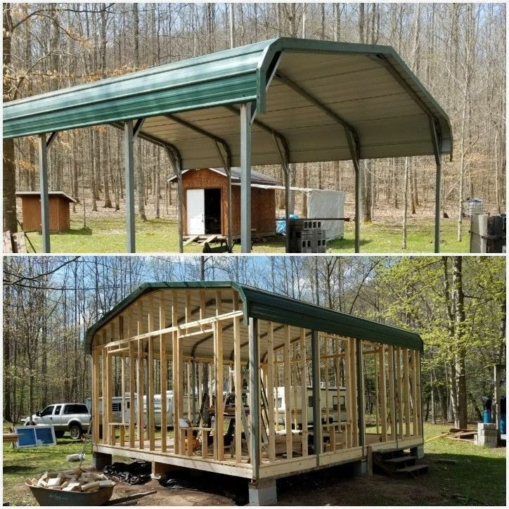 This Was A Metal Carport We Had Made Into A Beautiful Cabin Carport Makeover Metal Building Homes Shed Cabin