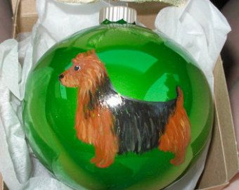 Australian Terrier Dog Hand Painted Christmas Ornament - Can Be Personalized with Name