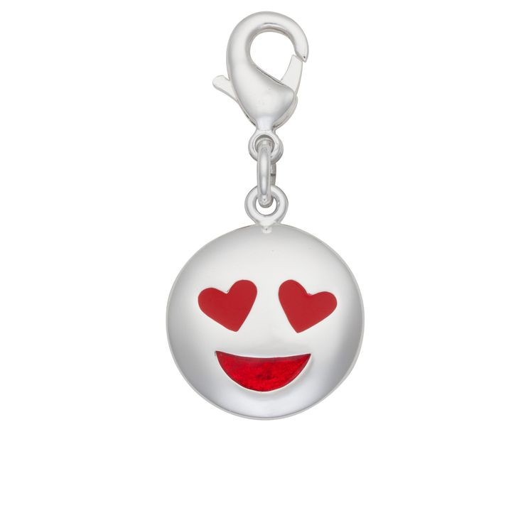 Open your heart and eyes to love with this Silver-Plated love emoji charm.