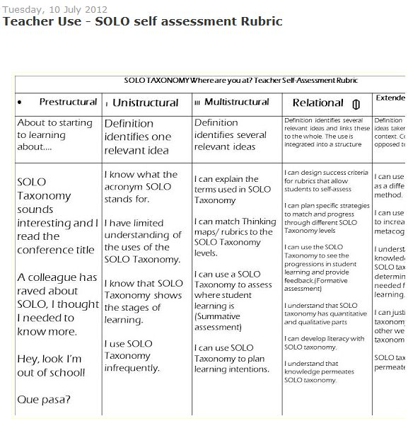 Teacher Use  Solo Self Assessment Rubric  Pedagogical Purposes