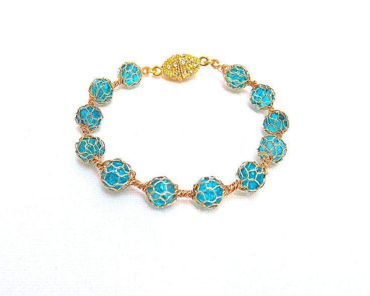 Handmade twisted  bangle bracelet Wire crochet gold bangle Mesh bracelet  Gold wire crochet bracelet by KvinTal on Etsy