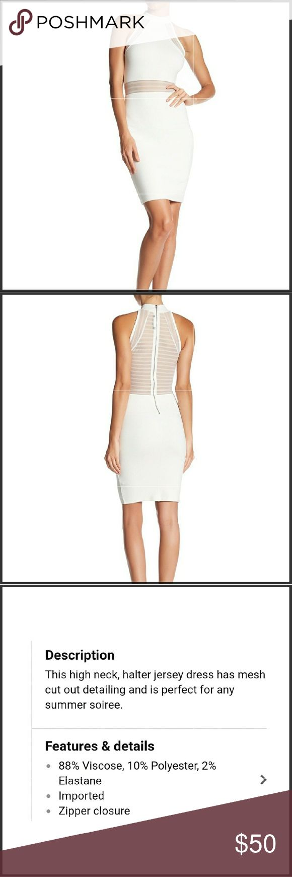 French connection mesh dress NWT Sheer mesh off white dress has a fresh modern look with halter top and mesh stripes,designed with all day versatility in mind.this is a chameleon of a dress you can dress it up or down depending in the accessories you put together,measurements are bust 39.5 waist 33.5 and hips 43.5 French Connection Dresses