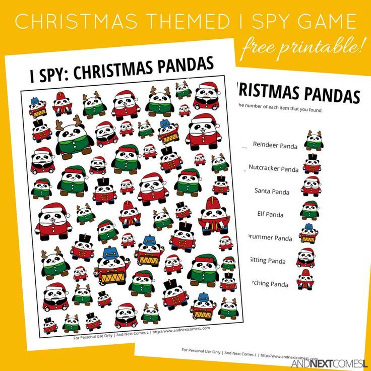 christmas pandas i spy game free printable for kids