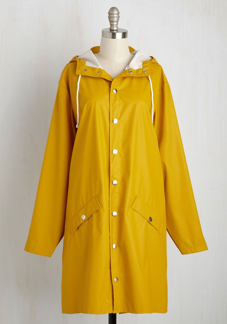 Ups and Downpours Rain Coat in Butterscotch. When youre out about in this classic rain coat by Spanish brand Kling, you change the reputation of rainy days into one of cute opportunity! #yellow #modcloth