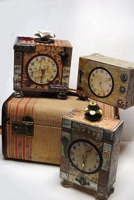 Altered Cigar box Clocks by treasuretrends, via Flickr