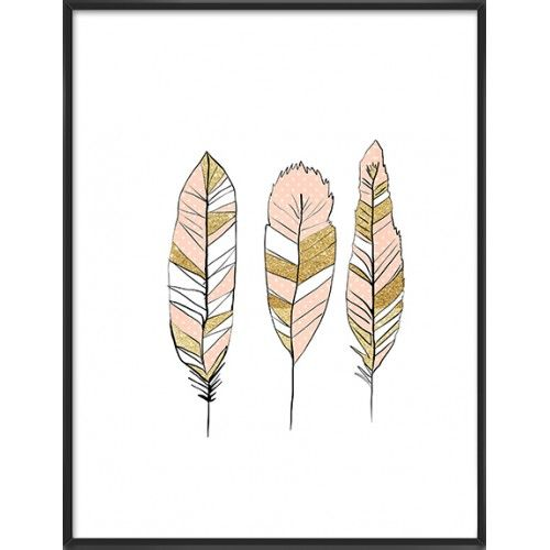Polka gold feathers art print-51