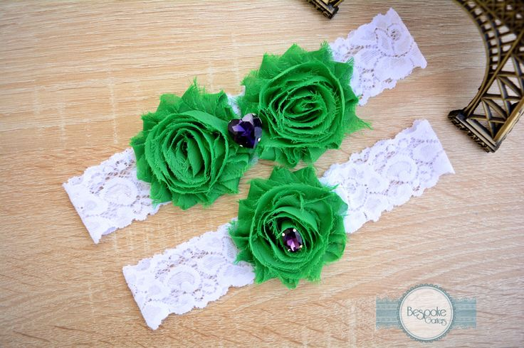 Emerald Green Wedding Garter with White Lace & Purple Rhinestone - by BespokeGarters by BespokeGarters on Etsy