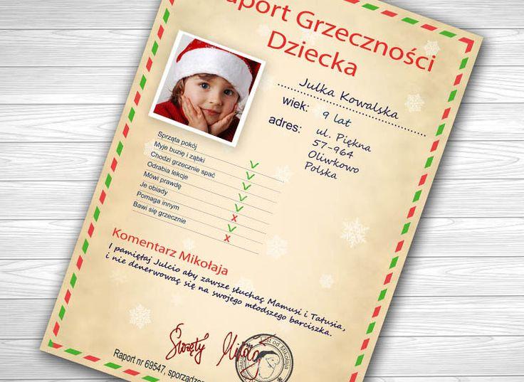 Raport grzeczności dziecka prosto od Świętego Mikołaja