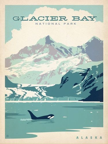 Glacier Bay National Park - Anderson Design Group has created an award-winning series of classic travel posters that celebrates the history and charm of America's greatest cities and national parks. Founder Joel Anderson directs a team of talented Nashville-based artists to keep the collection growing. This print honors the pristine beauty of Glacier Bay National Park, Alaska.