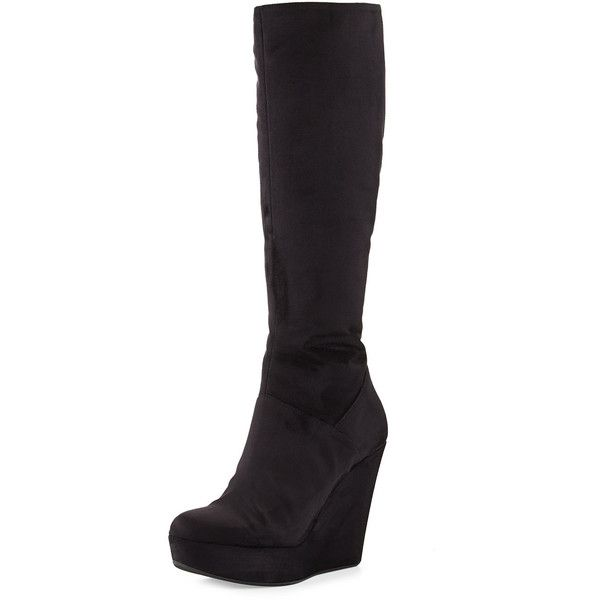 Dee Keller Barbara Suede Wedge Knee Boot ($116) ❤ liked on Polyvore featuring shoes, boots, tall boots, black, knee-high boots, suede thigh-high boots, black wedge boots, black suede boots, knee high platform boots and black boots
