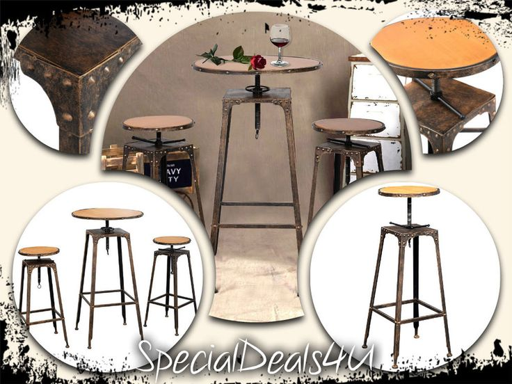 Industrial Dining Set 3 PC Table Bar Stools Pub Kitchen Furniture Bistro Home  #SpecialDeals4U #IndustrialBistroVintageRustic
