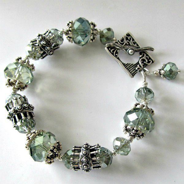 handmade beaded jewelry and lampwork jewelry designs pacificjewelrydesignscom aqua crystal and white - Beaded Bracelet Design Ideas