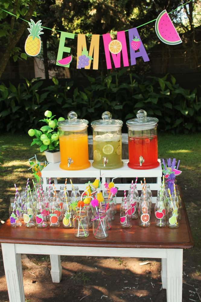 Fun drink station at a tutti frutti birthday party! See more party ideas at CatchMyParty.com!