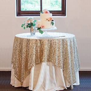 NEW-48-72-Gold-Sequin-Tablecloth-Overlays-Fancy-Wedding-Decor-Hard-to-Find