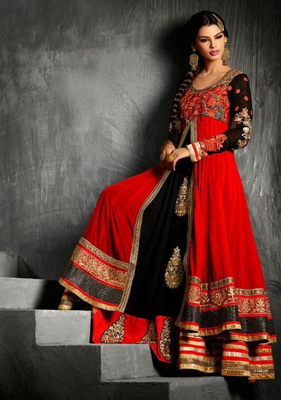 USD 130.94 Red Butta Work Layer Cut Shrara Styel Anarkali Suit  38119