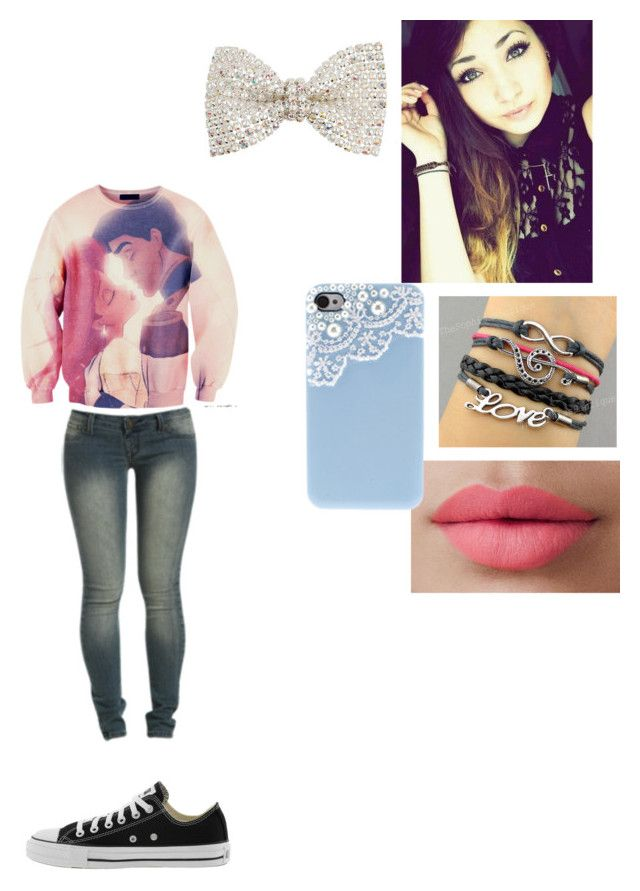"""""""im in love with a fallen angle <3"""" by babyboo189 ❤ liked on Polyvore featuring Wet Seal, Converse, LORAC and Dorothy Perkins"""