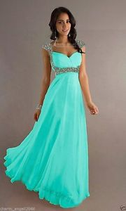 Details about Long Chiffon Cap Sleeve Formal Prom Dresses Party Bridesmaid Evening Gowns 6-16