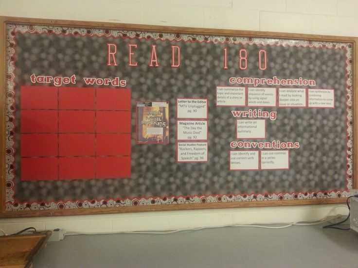 Bulletin board for READ 180 workshop 4 stage C. I'll put up the target words as we learn them. The comprehension, writing, and conventions categories are written as learning targets.