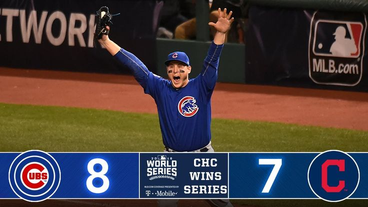 Nov 3,2016: The Cubs win the World Series, 4 games to 3//W: Chapman/L: B Shaw/SV: M Montgomery