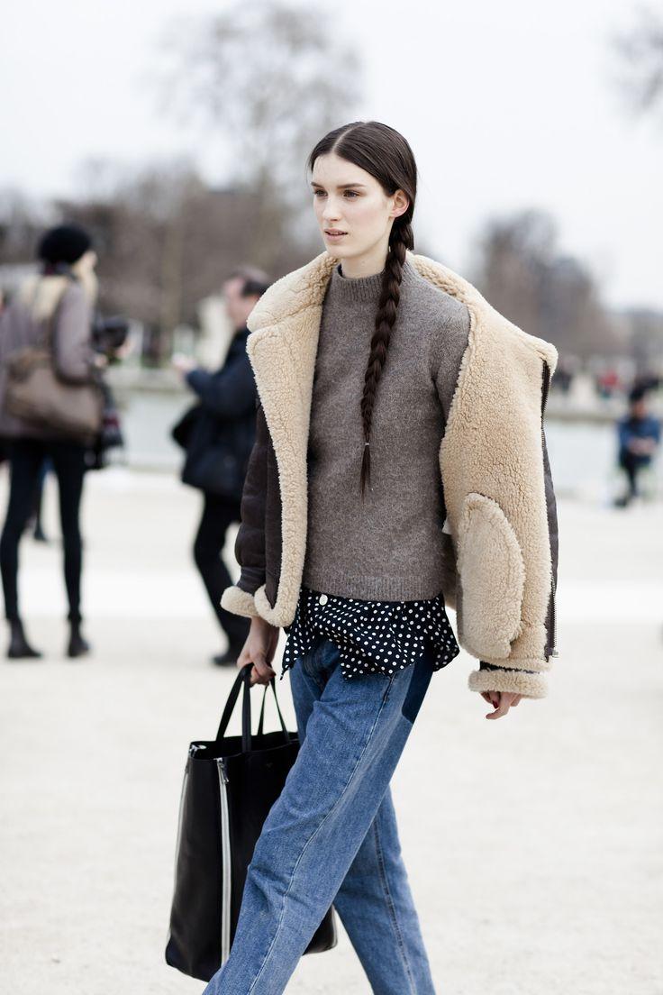 Denim jeans, tote bag, shearling coat, braid