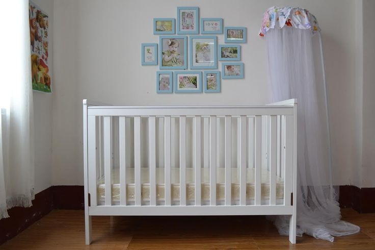 4 in 1 White Wooden Baby Cot crib Toddler Bed Sofa Bed[Cot with Inner spring mattress]