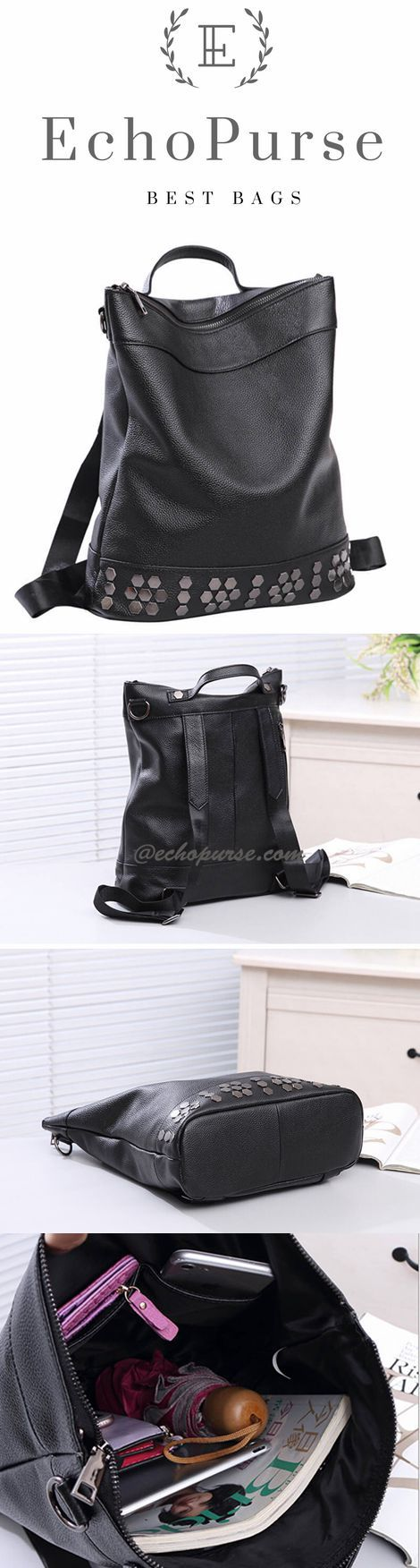Top Grain Leather Rivet Shoulder Bag, Ladies Backpack YLG304