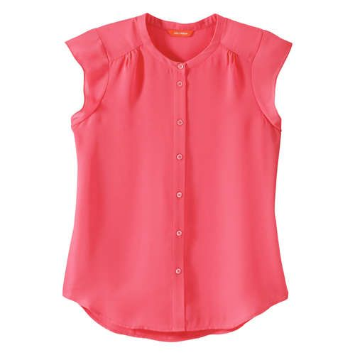FREE SHIPPING on orders over $50. FREE RETURNS in store. Get all aflutter about our latest button front blouse.