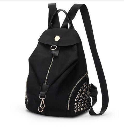 Latest Design New Oxford Waterproof Backpack Women Casual Fashion Rivets School Bag