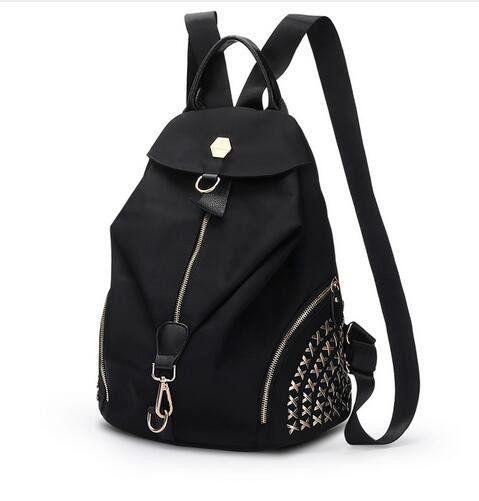 Latest Design New Oxford Waterproof Backpack Women Casual Fashion Rivets School Bag
