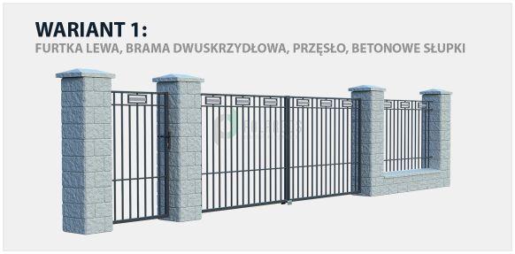 Ogrodzenie nowoczesne Argos w wariancie z bramą dwuskrzydłową oraz betonowymi słupkami.