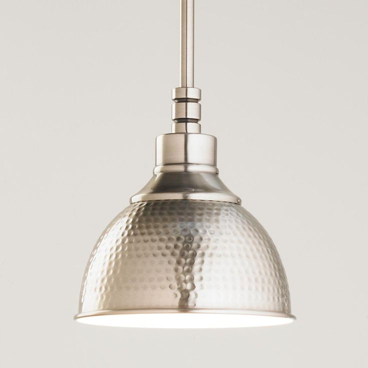 Hammered Metal Pendant Light - Small from www.ShadesofLight.com Price: $82 for Antique Nickel Susan's alternate suggestion for kitchen