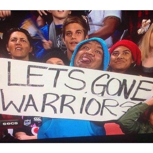 That moment! Tyson Elia's 'Lets Gone Warriors' sign at the 2013 game in Brisbane went viral after being caught on TV #WarriorsForever #Brisbane #Sign #LetsGoneWarriors #Viral