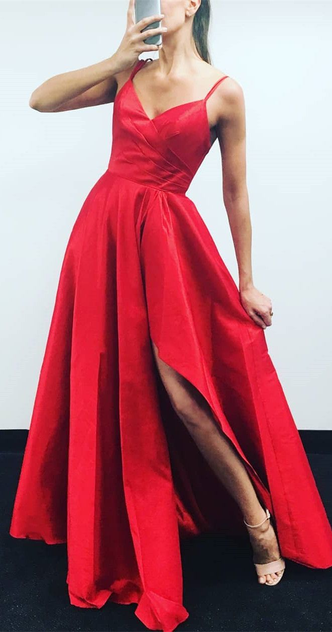 2018 red long prom dress with slit, simply gorgeous v neck red prom dress, long prom dress