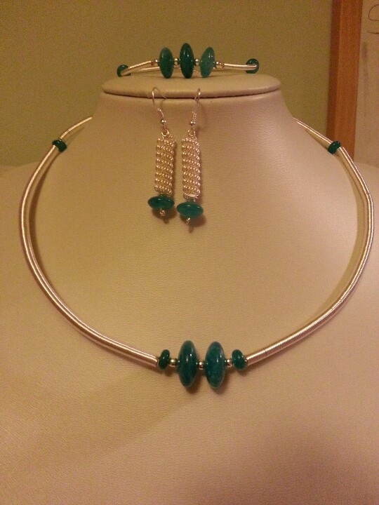 Blue quartzite with silver plated gizmo coiled wire