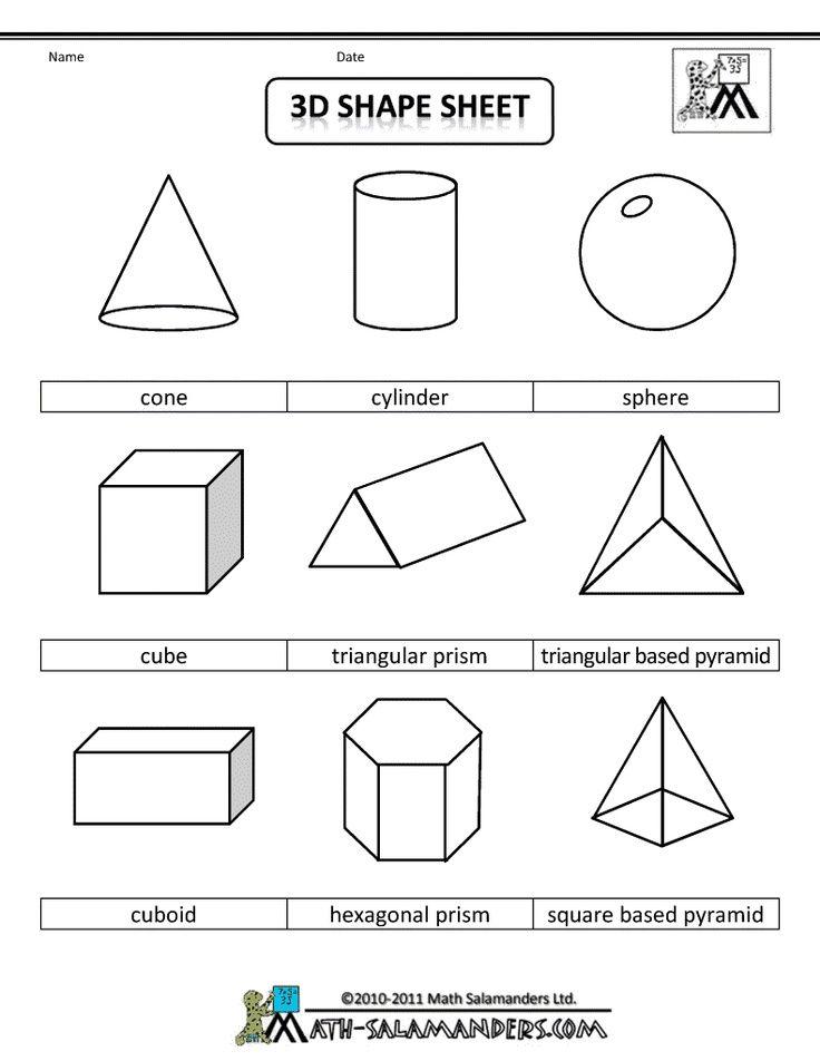 3d Shape Sheet Shapes Worksheets 3d Shapes Worksheets Teaching Shapes 3d shapes worksheets 2nd grade