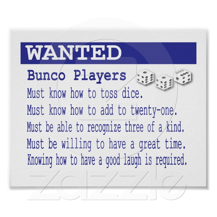 Wanted BUnco Players Poster from Zazzle.com