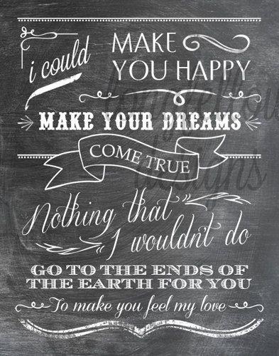 Make You Feel My Love - Adele/Garth Brooks Lyrics - 11 x 14 Chalkboard Look Print