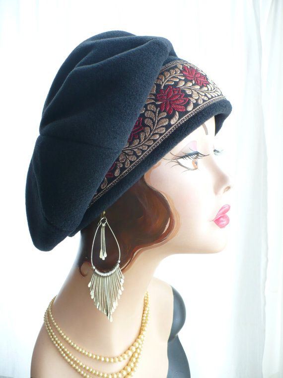 Black Polar Fleece Beret with Metallic Floral Trim Boho Style ~ This floppy, slouchy beret is made with 8 sections on the top. $35 from Great Hat!