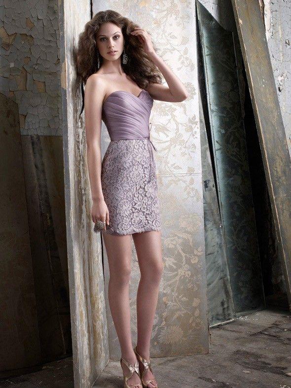 Romantic Taupe Organza Mantel kurzer Frühling Brautjungfer Kleid $237 Brautjunferkleider