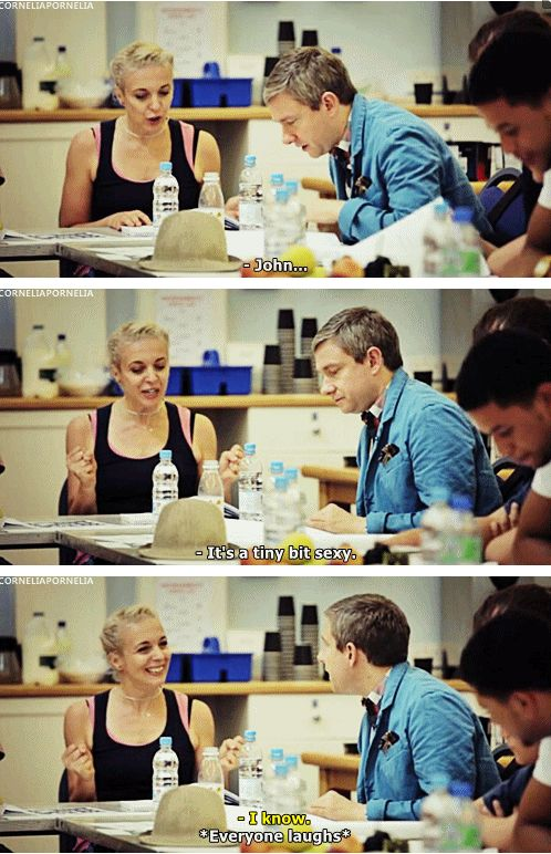 """Martin Freeman and Amanda Abbington at the ""His Last Vow"" table read.""-- I bet that was fun to sit through. I would imagine just letting those two adlib their way through would be comedy gold."