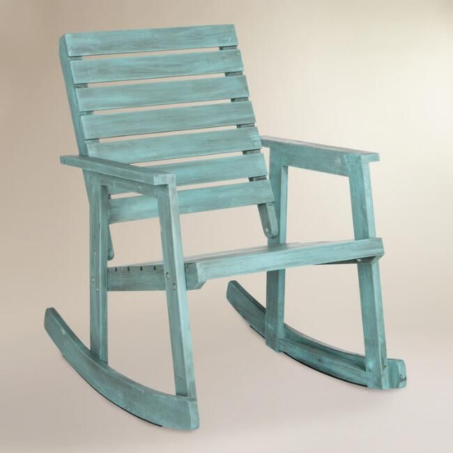 Blue wood outdoor rocking chair sea blue wood outdoor rocking chair