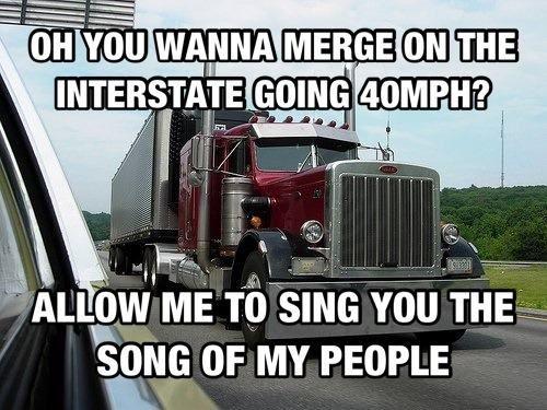 Trucking meme about bad merging.