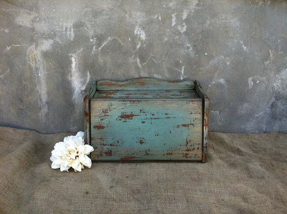 Shabby Chic Decor  Breadbox  Bread Box  Wooden by TimelessNchic, $39.95 #breadbox #box #rustic #upcycle #repurpose #etsy #timelessnchic #industrial #farmhouse #modern #chic #wood #cottage #country #turquoise #green #victorian #frenchcountry #storage #organize #shabby #vintage