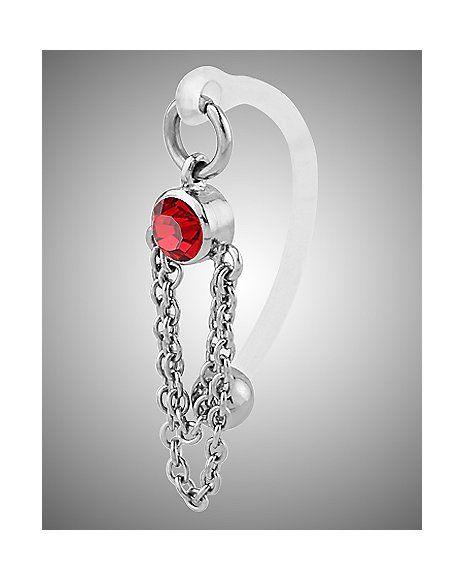Red Gem Chain Bioflex Ring- 14 Gauge - Spencer's