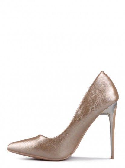 Pantofi de damă cu toc înalt TENDENZ - auriu