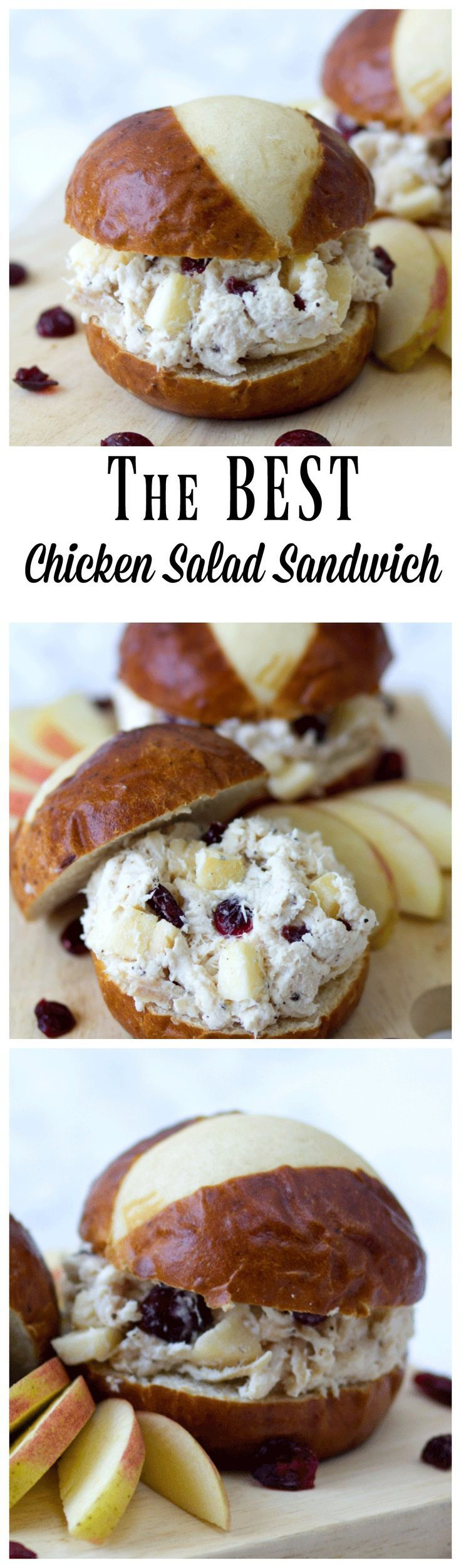 The BEST Chicken Salad Sandwich is a great combination of chopped chicken, crunchy apples, creamy mayo and sweet raisins. It is now my go to Chicken Salad!