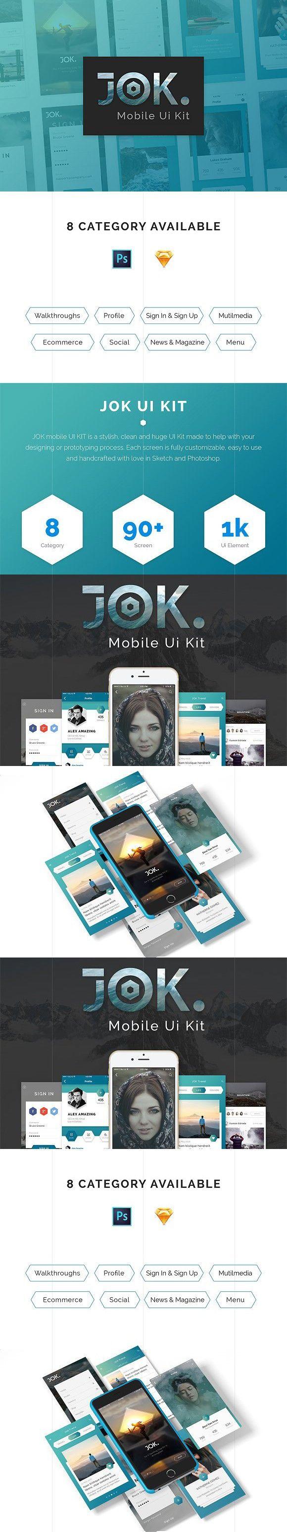 JOK Mobile App UI KIT. Website Templates