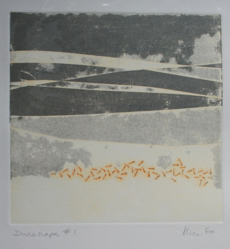 Alice Fox - Image of Dunescape #1 collagraph print--I like a collagraph that isn't sloppy.