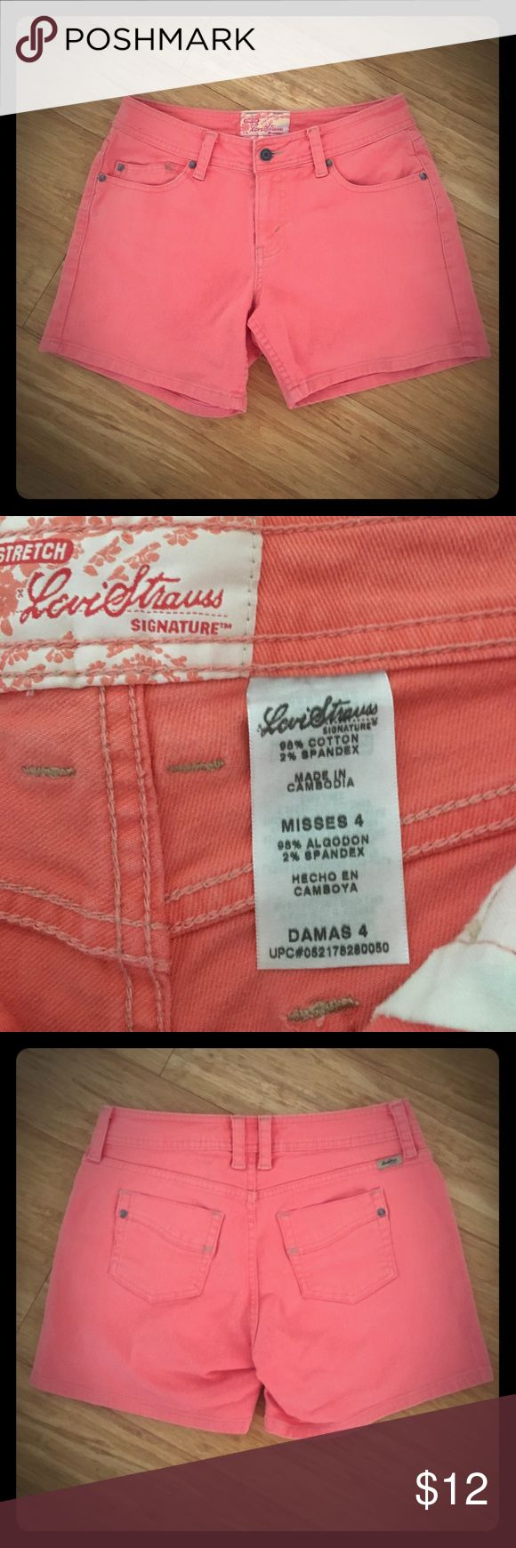 Levi Strauss Signature STRETCH peachy jean shorts Levi Strauss Signature STRETCH peachy jean shorts, size 4, great condition and great color, material still has a crispness to it, look almost new to me Levi's Shorts Jean Shorts