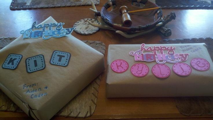 Cricut Mini monograms and Celebrate with Flourish cartridges...birthday presents.
